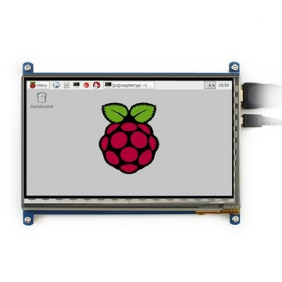 800*480 Resolution 7 inch LCD Capacitive Touch Panel with HDMI + USB Cable for Raspberry Pi