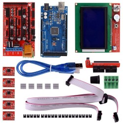 3D Printer Kit with RAMPS1.4+ Mega 2560+ 5pcs A4988 with Heatsink + LCD 12864 Graphic Smart Display Controller with Adapter