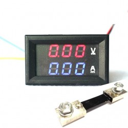 "0.28"" 100V 50A Dual LED Voltmeter Ammeter Blue+Red"