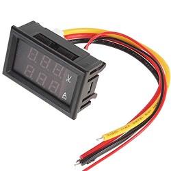 """0.28"""" 100V 10A Dual LED Voltmeter Ammeter Blue+Red (Onboard Diverter)"""